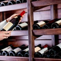 Choosing a bottle of wine at the wine cellar